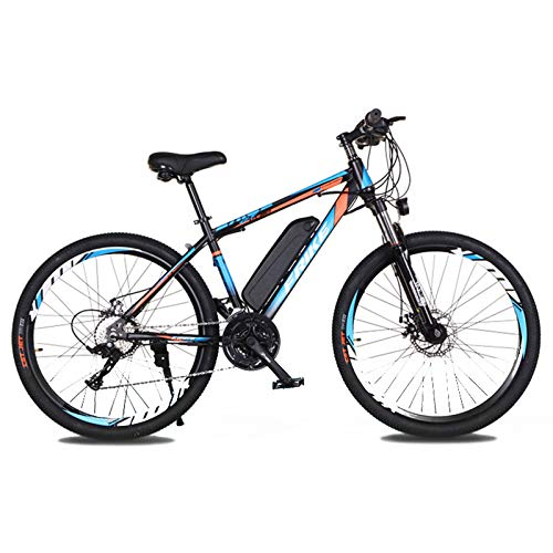 Electric Bikes for Adults Electric Mountain Bike 21-Speed 36V 8Ah Lithium Battery E-Bike with 26' Spoke Wheel Big Tire and 250W Motor for Beach Snow Gravel Rain Electric Biking Adventure,Black blue
