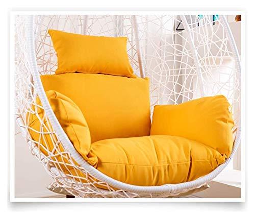 HLZY Cojines para sillas de patio, columpio para colgar, cojín de asiento, respaldo grueso de silla de algodón PP, cojines de silla colgantes de poliéster, cojines para silla (color: amarillo)