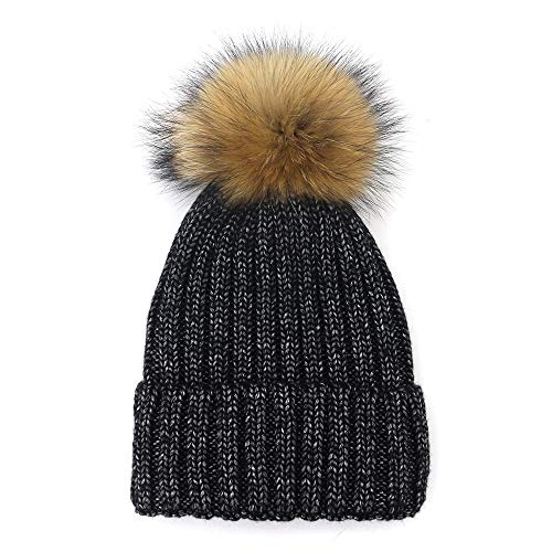 Lovely wollen mutsen Girls nieuwe herfst en winter Warme Muts Fashion Wild Silk Dome Hat Bont van de Wasbeer Ball Cap Solid Color Simple hjm mao zi (Color : Black, Size : M56-58cm)