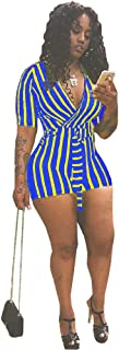 Mintsnow Women's Summer Romper Boho Playsuit African Print Jumpsuits Beach 2 Piece Outfits Top with Shorts