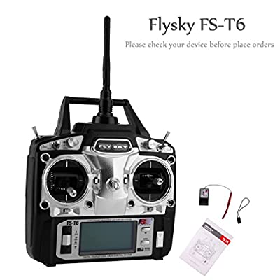 UNIKEL Flysky FS-T6 Radio Control 2.4G 6 Channel Transmitter+Receiver for RC Helicopter
