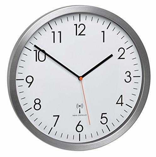 TFA Dostmann–Alluminio Radio Orologio da Parete con Un Orologio di Sweep Silenzioso Gatto 60.3527.55