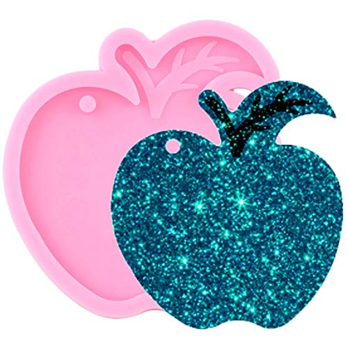 TIANDI Shiny Glossy Apple Keychains Mould Resin Silicone Epoxy Molds For Pendant Making Polymer Clay Moulds