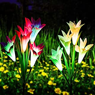 Qunlight Outdoor Solar Stake Flower Lights - 2 Pack Solar Powered Decorative Lights with 8 Lily Flower, Multi-Color Changing LED for Garden, Lawn,Patio, Pond,Backyard, etc(Purple and White)
