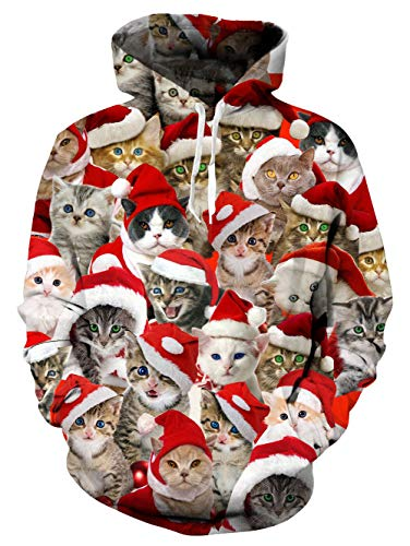 Men and Women Novelty Fleece Hoodies Ugly Christmas Hoodie Sweater Santa Cat Print Pullover Athletic Sweaters Oversized Fleece Hooded Sweatshirts for Holiday Party Red