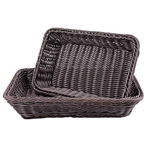 WANDIC Cesta Tejida, 2 cestas de Almacenamiento de Pan de Mimbre de Poli para Alimentos, Frutas y Verduras, Tienda Poco Profunda, exhibición de supermercados, rectángulo/marrón Oscuro
