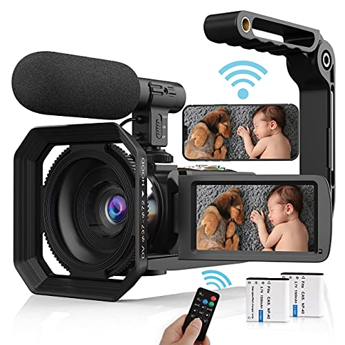 Video Camera Camcorder, 4K Vlogging Camera UHD 48MP WiFi YouTube Camera Recorder with Microphone, Remote, Stabilizer, Lens Hood Super1