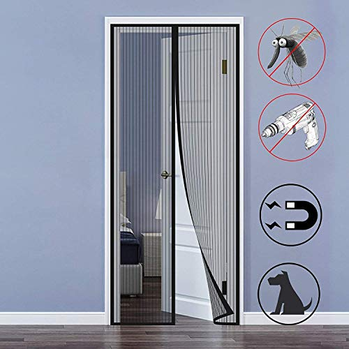 Magnetic Screen Door, Mosteck Heavy Duty Screen Mesh Curtain Fit Balcony Doors Living Room up to 39'x 83' Pets and Toddlers Friendly - Black