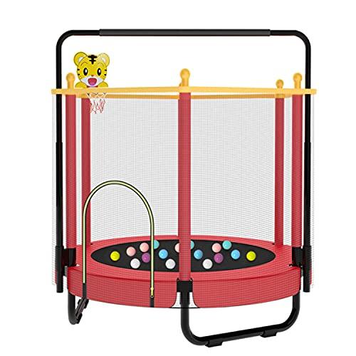 Cama Elastica Infantil con Red de Seguridad, 55in Espesado Acero Cama Elastica Exterior Silenciosos Cama Elastica Fitness con Barras Horizontales y Anillos para Infantil Adulto, Soporte 300 kg