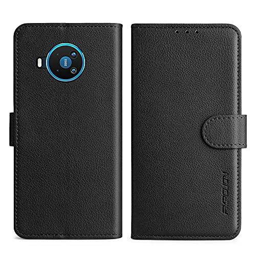 FMPCUON Handyhülle Kompatibel mit Nokia 8.3 5G Hülle Leder PU Leder Tasche,Flip Hülle Lederhülle Handyhülle Etui Handytasche Schutzhülle für Nokia 8.3 5G,Schwarz