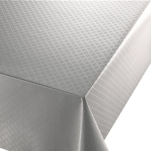 DecoHomeTextil Wachstuch Diamant Relief Silber Breite & Länge wählbar abwaschbare Tischdecke Eckig 110 x 140 cm