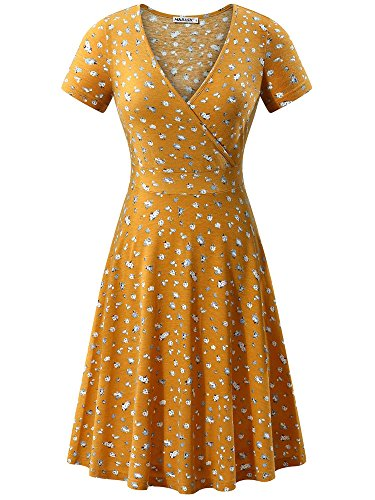 MSBASIC Floral Dress Aline Womens Cocktail Dress Yellow Floral L