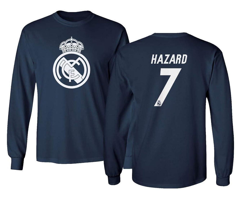 Tcamp Real Madrid Eden Hazard #7 Shirt Soccer Tee Men's Long Sleeve T-Shirt