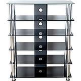 STILISTA TV Rack Schrank Ständer Möbel Regal HiFi Audio Glas Schwarzglas, extra groß H 113,5 x B 90 x 40 cm