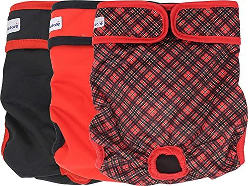 Petsweare wasserdicht saugfähigkeit waschbare robuste Wiederverwendbare Hundewindeln läufigkeitshose inkontinenzunterlage für weiblichen Welpe und Hündinnen 3 Pack (Medium, Scottish Rot)…