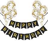 Striscione Buon Compleanno con Palloncini Coriandoli   Festone buon compleanno   Decorazioni per bambini e uomini   Festone nero compleanno con palloncini oro e nastro palloncini