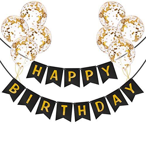 Pancarta de Feliz Cumpleaños con Globos de Confeti | Guirnalda de Cumpleaños | Decoraciones de Cumpleaños para Hombres y Niños | Pancarta de Cumpleaños Negra con Globos Dorados y Cintas de Globos