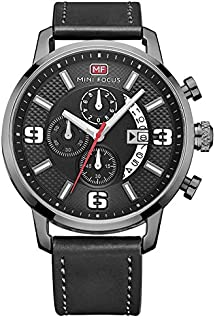 Mini Focus Casual Watch for Men, Analog, Leather Strap, Black, MF0025G-04