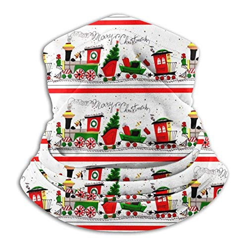 Feliz Navidad Trenes Vías Férreas Árboles Muérdago Conos Coníferas Nieve Pasamontañas Microfibra...