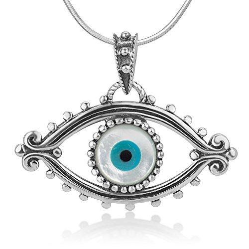 925 Oxidized Sterling Silver Evil Eye Lucky Eye...