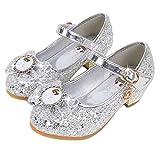 LCXYYY Niña Bailarina Zapatos de Tacón Disfraz de Princesa Zapatilla de Ballet Zapato Arco con Lentejuela Infantil de Disfraz Sandalias para Cumpleaños Fiesta Cosplay Carnaval 3-14 Años
