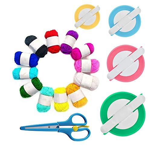 Anyasen 4 Pezzi Fluff Ball Maker Set Fluff Ball Weaver Needle Plastica per Realizzare Fluff Ball Filato di Lana Maglia Set di Attrezzi con Forbici per Tessuti 12 Rotolo Filo Acrilico