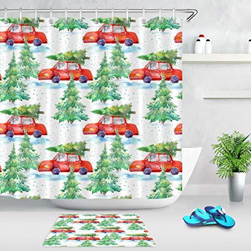 ZZ7379SL Watercolor christmas tree red car 3D digital printing bathroom curtain set waterproof and mildew proof