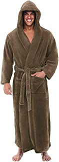 Men Winter Night Robe, Male Solid Long Sleeve Plush Lengthened Bathrobe with Belt Pajama Set