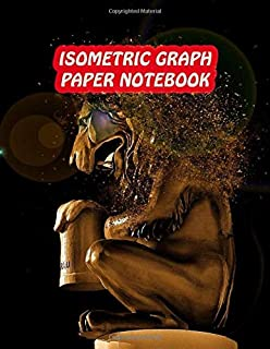 Isometric Graph Paper Notebook: Drawing Dot Grid 8.5x11 Landscape Journal 100 sheets | Lion Sculpture Cover Print