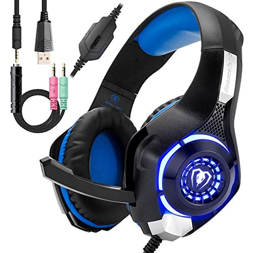 Wired Blue Gaming Headset for PS4, Over-Ear PC Headphones As Gifts, Gamer Headset with Noise...