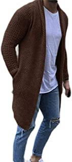Men's Shawl Collar Cardigan Sweater Knit Baggy Open Front Cardigan with Pockets
