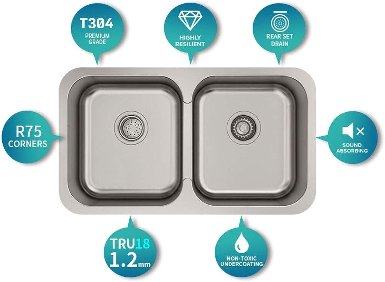 304 Edelstahl Küche verdickt Waschbecken Waschbecken Doppelschlitz Integrierte 1,2 mm Dicke Küchenspülen 0629
