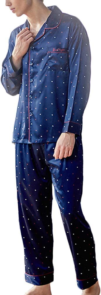 Nunubee Faux Silk Pajamas Set Long Sleeve Sleepwear Dot Pattern Nightwear Loungewear with Top & Pants/Bottoms Man - Dark Blue - XL