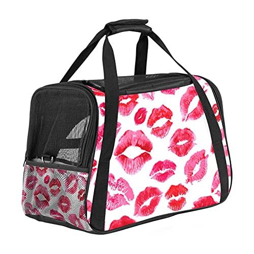 Bolsa portadora de mascotas con patrón de labios rojos, bolsa de transporte portátil de cara suave para perros pequeños con asa de transporte y correas de hombro, aprobada por aerolínea, viaje