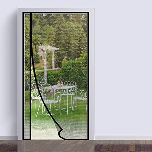 Mosquitera magnética para puerta, 110 x 220 cm, apertura lateral izquierda o derecha, cierre automático para puerta de balcón, salón, terraza, montaje adhesivo