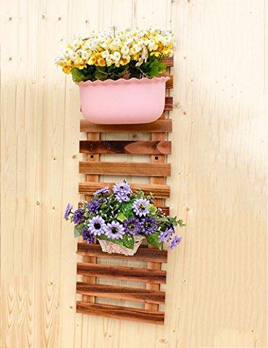 XIAOLIN- bois massif mur racks de fleurs décoration pendaison mur racks de fleurs patio de plein air carbonisation Anti-corrosion clôture en bois racks de fleurs --Cadre de finition de fleurs ( taille : 100cm )