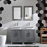 48' Double Sink Bathroom Vanity Cabinet Combo Glass、Marble Top Grey Paint Wood w/Faucet, Mirror&Drain Set (Solid Wood + Marble Top)
