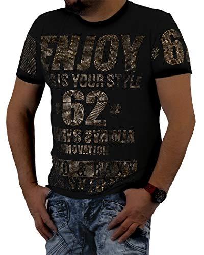 Cipo Baxx Herren T-Shirt Designer Kurzarm-Shirt Tshirt Applikation Strasssteine Glitzersteine Logo Schriftzug Rundhals Club-Wear CT543 (M, Schwarz)