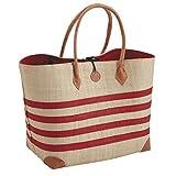 Bolso de mano rafia rayado rojo y blanco con tirantes y esquinas de cuero