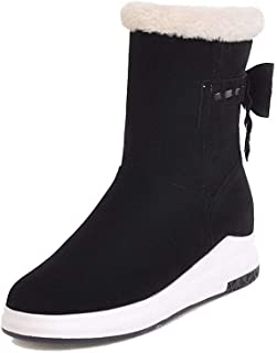 WeiPoot Women's Frosted Pull-On Closed-Toe Kitten-Heels Low-Top Boots, EGHXH117992
