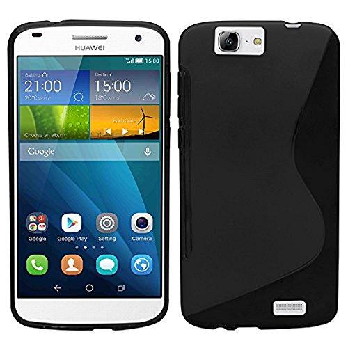 AnnaRT® - Carcasa S-Line TPU Gel Silicona Flexible para Huawei Ascend G7/G7-L01/ G7-L03 – Negro