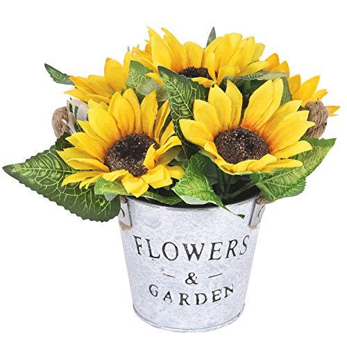 Maustic Künstliche Sonnenblumen mit Topf künstliche Gelb Blumen Künstlicher Sonnenblumenstrauß mit Vase Faux Seidig Sonnenblumen für Hochzeitsfeier Bühne Mittelstücke Fensterbank Dekor PF051-D