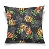 Funda de almohada decorativa cuadrada con diseño de piña, hojas de palmera, sofá cama, doble cara, 40,6 x 40,6 cm
