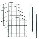 Teichzaun Set mit 5 Zaunelementen und 6 Befestigungsstäben, Welpanauslauf, Metall, Gartenzaun, Freigehege, Teich, Zaun, Set, 5 Elemente, Gitterzaun (Oberbogen) -