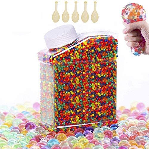 Facio 55000 Stück Wasser Gel Kugeln, Ungiftige sensorische Wasserbällchen wachsen im Wasser, klarer Gelee-Edelstein-Vasenfüller für Heimdekorationen(Plus 5 Luftballons)