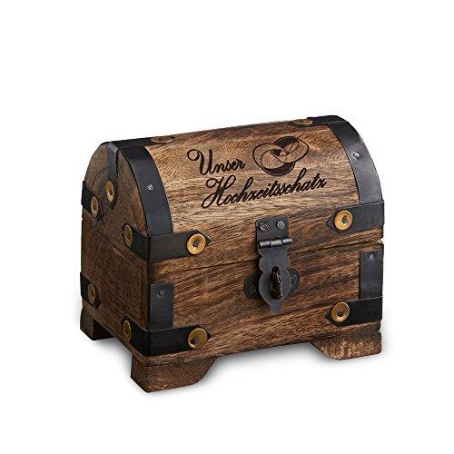 Casa Vivente Schatztruhe aus dunklem Holz mit Gravur, Unser Hochzeitsschatz, Motiv Ringe, Aufbewahrungsbox, Hochzeitsgeschenk
