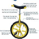 LIfav 16 Zoll Kinder Einrad, Höhenverstellbarer Griffige Reifen Einzel-Runde Gleichgewicht Bike Radfahren, Für Anfänger Kinder Erwachsene Übung Fun Fitness,Blau - 3