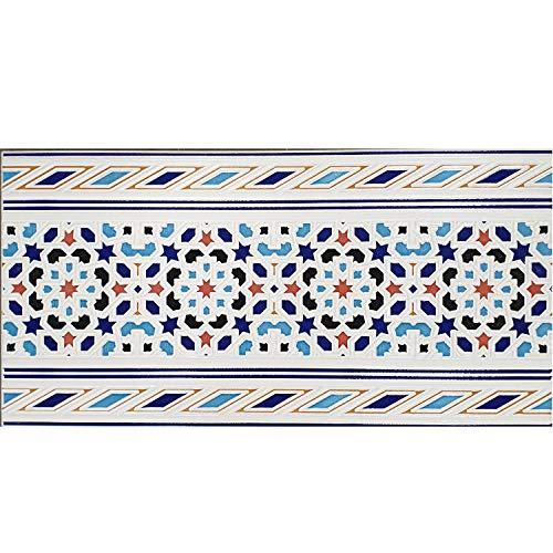 Casa Moro Orientalische Fliesen-Bordüre Kebir 60x30 cm Mosaik-Muster | Schöne marokkanische Wand-Fliesen für Bad Flur & Küche | FL7282