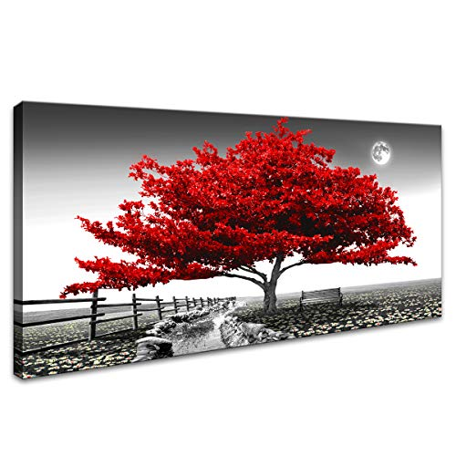 """Landscape Pictures Wall Art for Bedroom living Room Red Tree Canvas Wall Decor 1 Pieces Modern Canvas Print Artwork Nature Pictures Painting Giclee Prints Framed for Home Office Decor 24"""" x 48""""inch"""