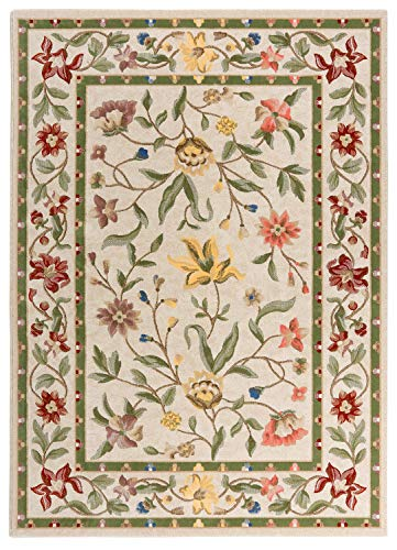 Mundoalfombra Alfombra de Lana Diseño de Flores y Hojas - Medidas para salón Comedor - Fabricada en España - Modelo Cordoba 15